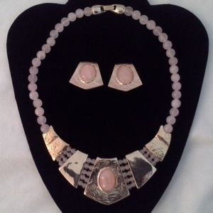 Jewelry - Pink Rose Quartz Necklace Clip Earrings HOST PICK
